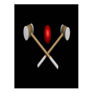 Carte Postale Clubs et boule de croquet