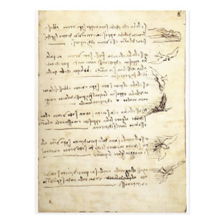Carte Postale Codex sur le vol des oiseaux par Leonardo da Vinci