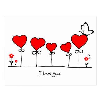 Carte Postale Coeur amour papillon - i love you
