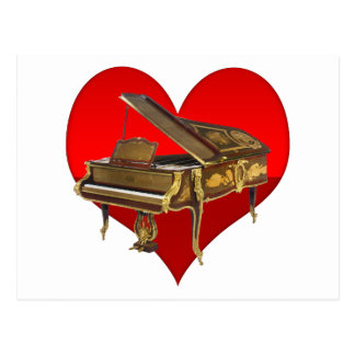 Carte Postale Coeur antique de rouge de piano de piano quart de