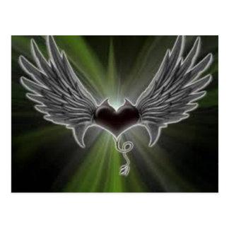 Carte Postale coeur avec des ailes