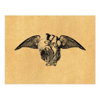 Carte Postale Coeur avec des serrures et des ailes