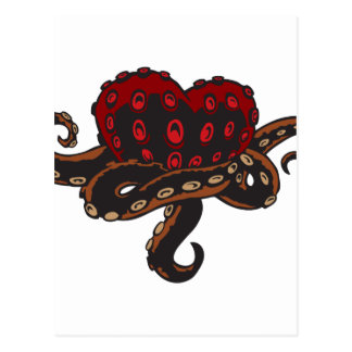 Carte Postale Coeur avec des tentacules