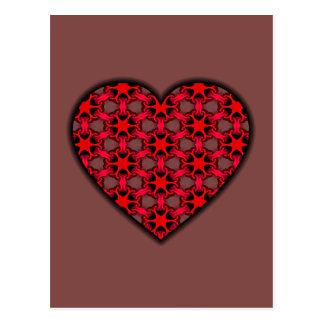 Carte Postale Coeur cosmique rouge d'éclat