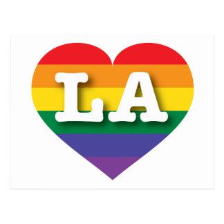 Carte Postale Coeur d'arc-en-ciel de gay pride de la Louisiane