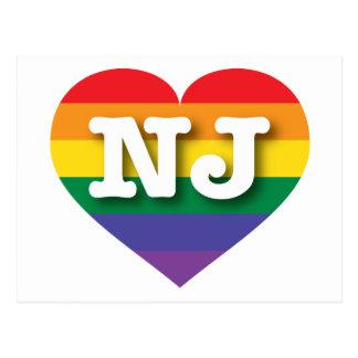 Carte Postale Coeur d'arc-en-ciel de gay pride de New Jersey -