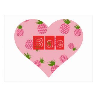 Carte Postale Coeur de couleur d'ananas de fraise de Bae