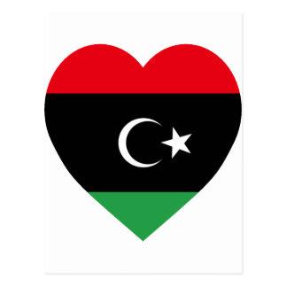 Carte Postale Coeur de drapeau de la Libye