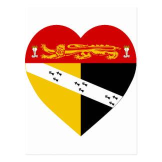 Carte Postale Coeur de drapeau de la Norfolk