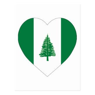 Carte Postale Coeur de drapeau de l'Île Norfolk