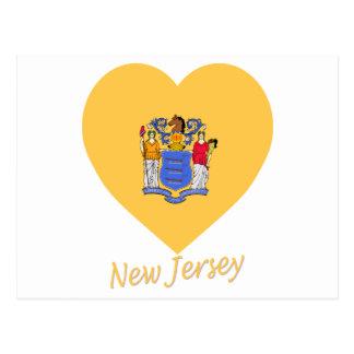 Carte Postale Coeur de drapeau de New Jersey