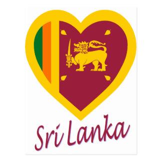 Carte Postale Coeur de drapeau du Sri Lanka