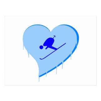 Carte Postale Coeur de glace de skieur
