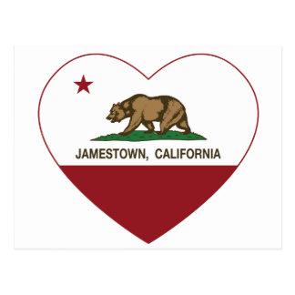 Carte Postale coeur de jamestown de drapeau de la Californie