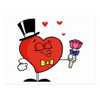 Carte Postale Coeur de monsieur tenant des roses