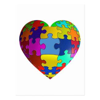 Carte Postale Coeur de puzzle de sensibilisation sur l'autisme