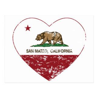 Carte Postale coeur de San Mateo de drapeau de la Californie