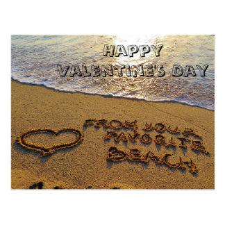 Carte Postale Coeur drôle de plage de calembour de