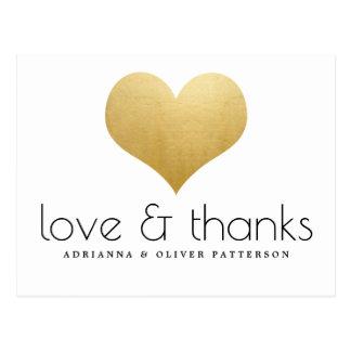 Carte Postale Coeur élégant de feuille d'or de Faux d'amour et