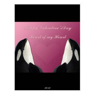 Carte Postale Coeur heureux d'épaulard d'orque de jour de