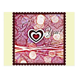 Carte Postale Coeur multi de prune je t'aime