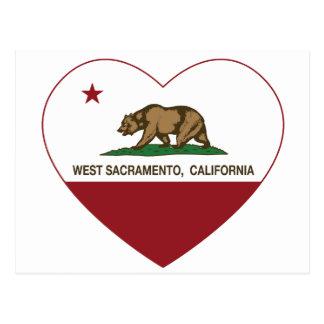 Carte Postale coeur occidental de Sacramento de drapeau de la