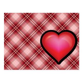 Carte Postale Coeur rouge de plaid