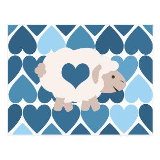 Carte Postale Coeurs bleus et agneau mignon