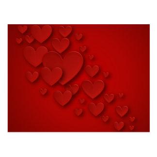Carte Postale Coeurs de cascade tridimensionnels rouges -