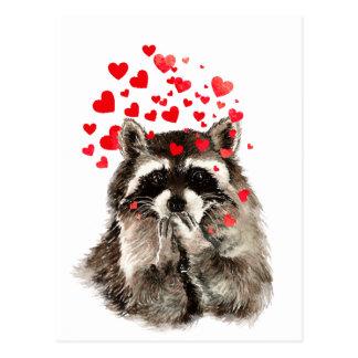 Carte Postale Coeurs de soufflement d'amour de baisers de raton