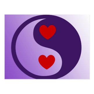 Carte Postale Coeurs pourpres de Yin Yang