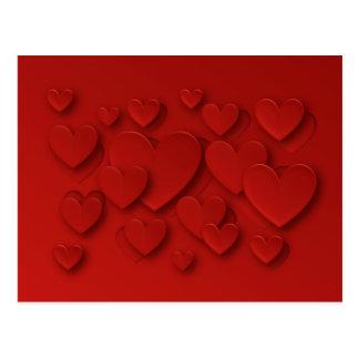 Carte Postale Coeurs tridimensionnels rouges d'épluchage -