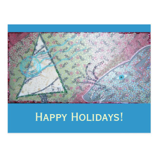 Carte Postale Collage de rongeur avec l'arbre de Noël