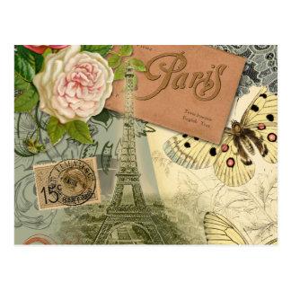 Carte Postale Collage vintage de voyage de Paris France de Tour