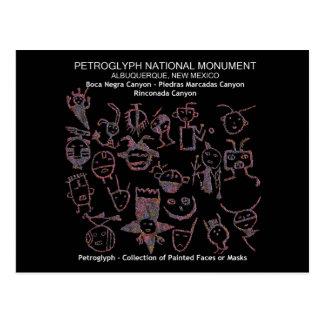 Carte Postale Collection de pétroglyphe de visage ou de masques
