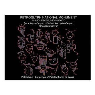 Carte Postale Collection de pétroglyphe de visages ou de masques
