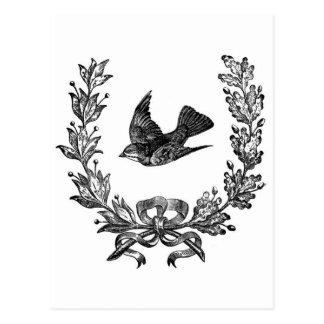 Carte Postale colombe vintage de conception de typographie et