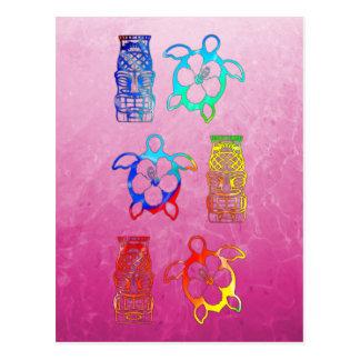 Carte Postale Colorant Honu de cravate et masque de Tiki