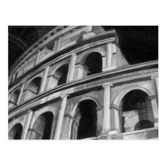 Carte Postale Colosseum romain avec les dessins architecturaux