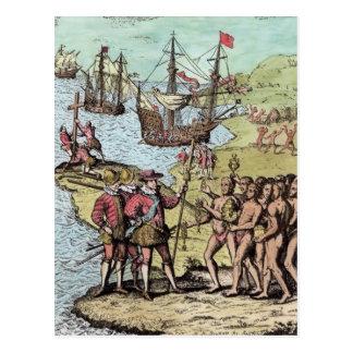 Carte Postale Columbus chez Hispaniola