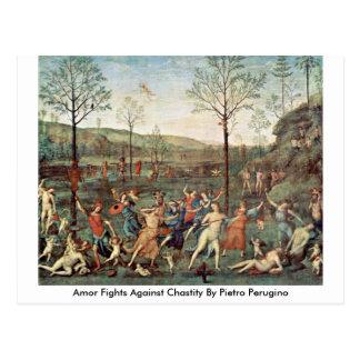 Carte Postale Combats d'Amor contre la chasteté par Pietro