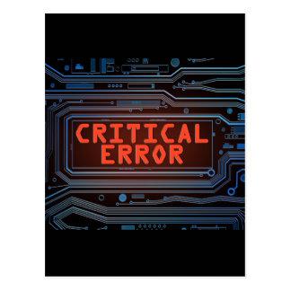 Carte Postale Concept d'erreur critique