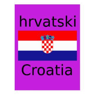 Carte Postale Conception croate de drapeau et de langue