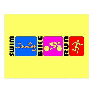 Carte Postale Conception de butoir de TRI de triathlon de bain