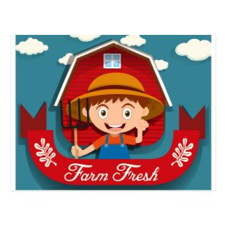 Carte Postale Conception de logo avec l'agriculteur et la grange