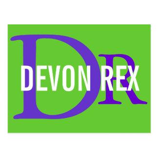 Carte Postale Conception de monogramme de chat de Devon Rex