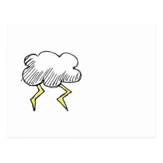 Carte Postale Conception de nuage de tempête de bande dessinée