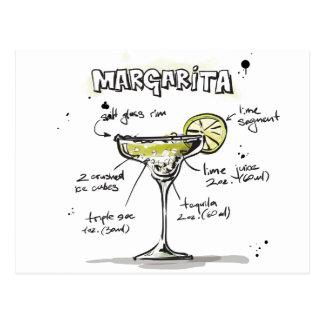 Carte Postale Conception de recette de boissons de margarita