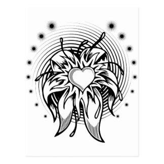 Carte Postale Conception de tatouage de coeur de fleur avec une