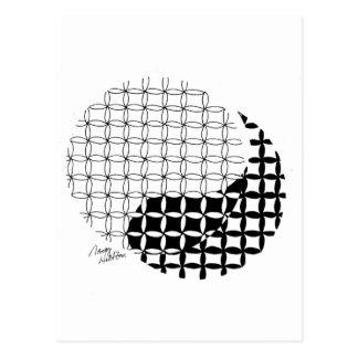 Carte Postale Conception de Yin Yang avec une torsion mélangée